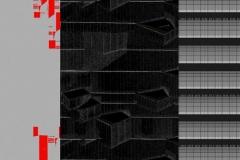 """""""Partition Noire Rouge"""", 2020, dessin numérique 80 X 60cm"""